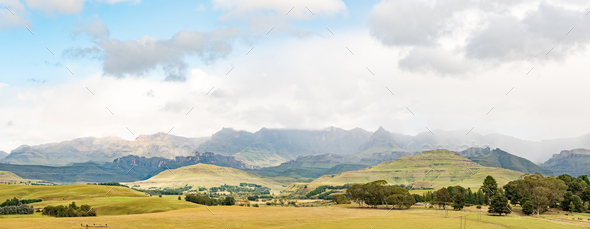 Panoramic view of the Drakensberg at Garden Castle - Stock Photo - Images