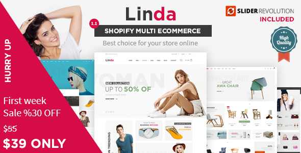 Linda - Mutilpurpose eCommerce Shopify Theme - Fashion Shopify