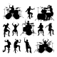 Silhouettes Drummers