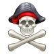 Cartoon Skull and Crossbones Pirate
