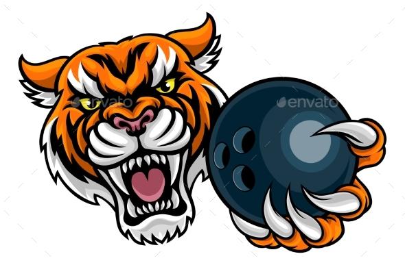 Tiger Holding Bowling Ball Mascot - Sports/Activity Conceptual