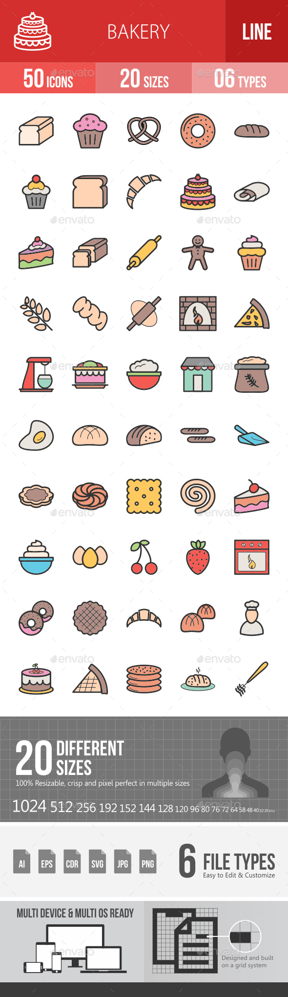Bakery Filled Line Icons - Icons