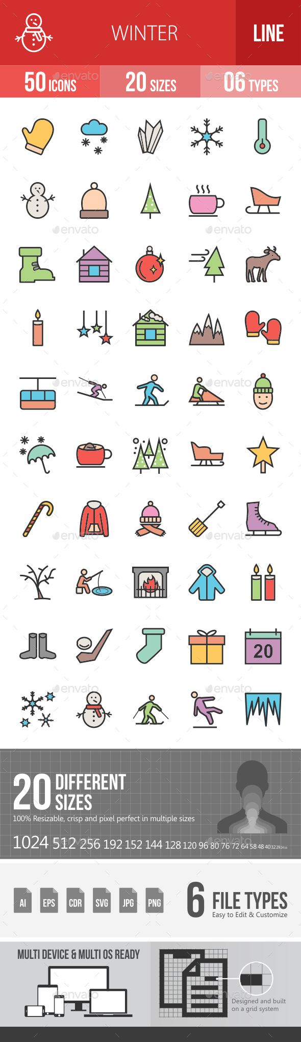Winter Filled Line Icons - Icons