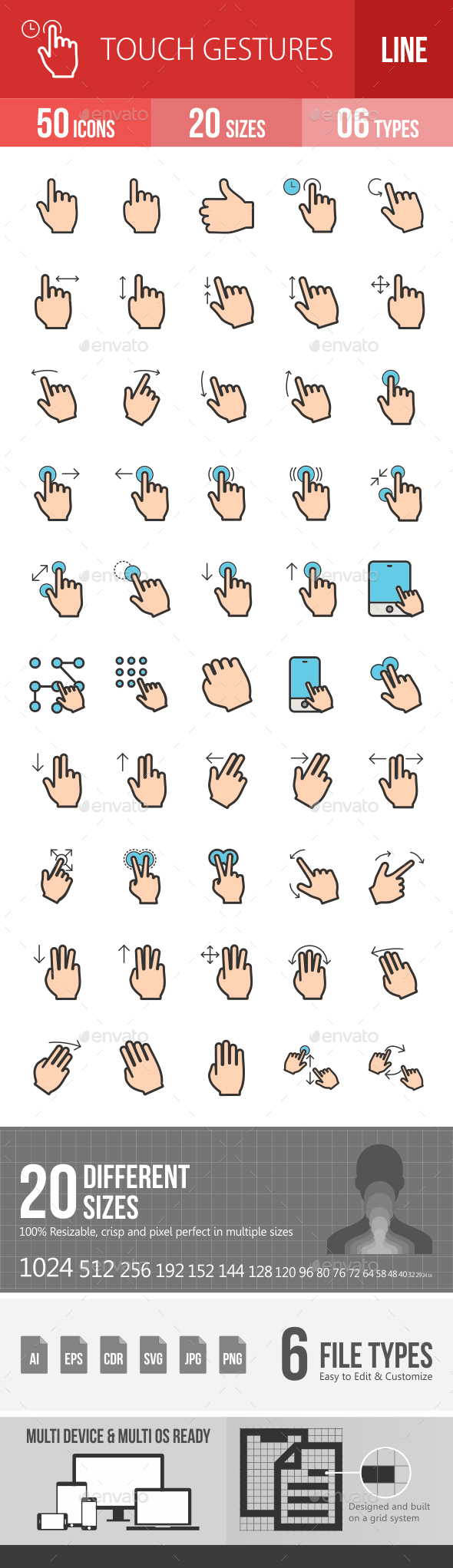 Touch Gestures Filled Line Icons - Icons