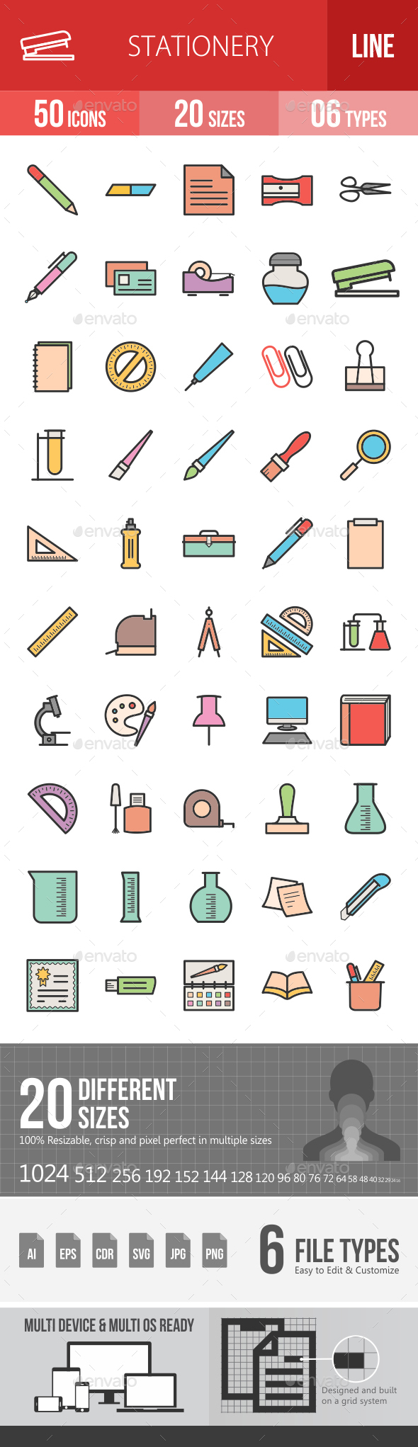 Stationery Filled Line Icons - Icons
