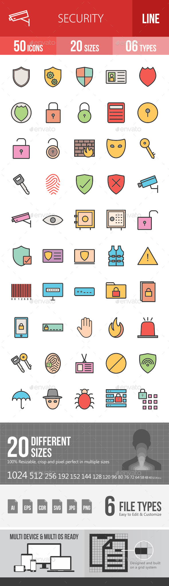 Security Filled Line Icons - Icons