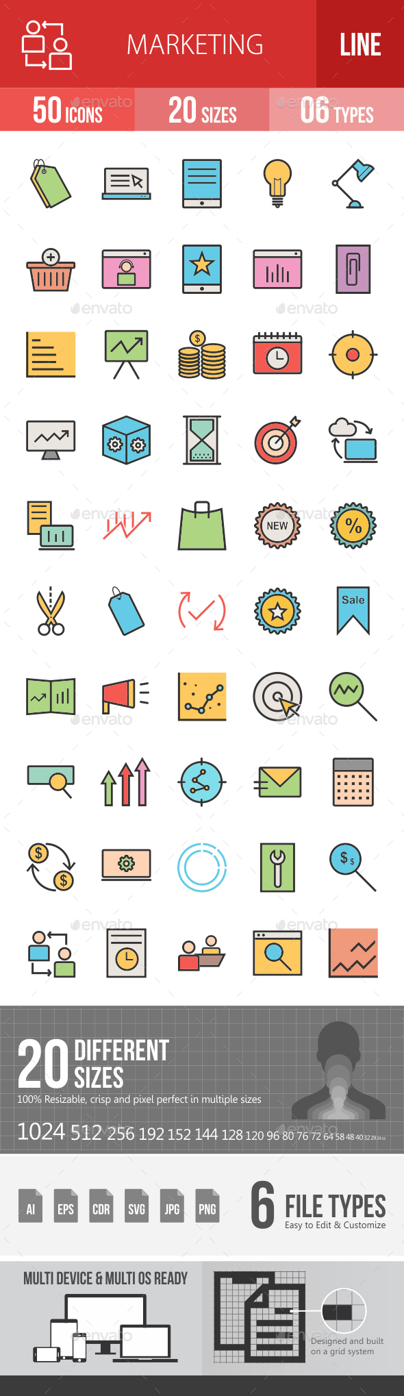 Marketing Filled Line Icons - Icons