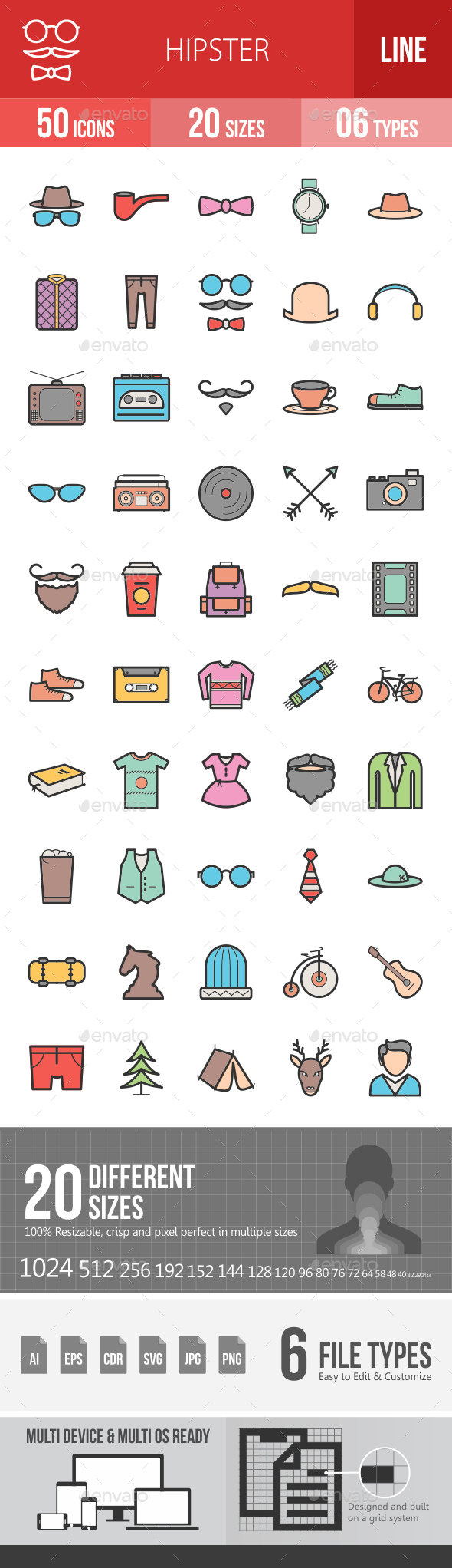Hipster Filled Line Icons - Icons