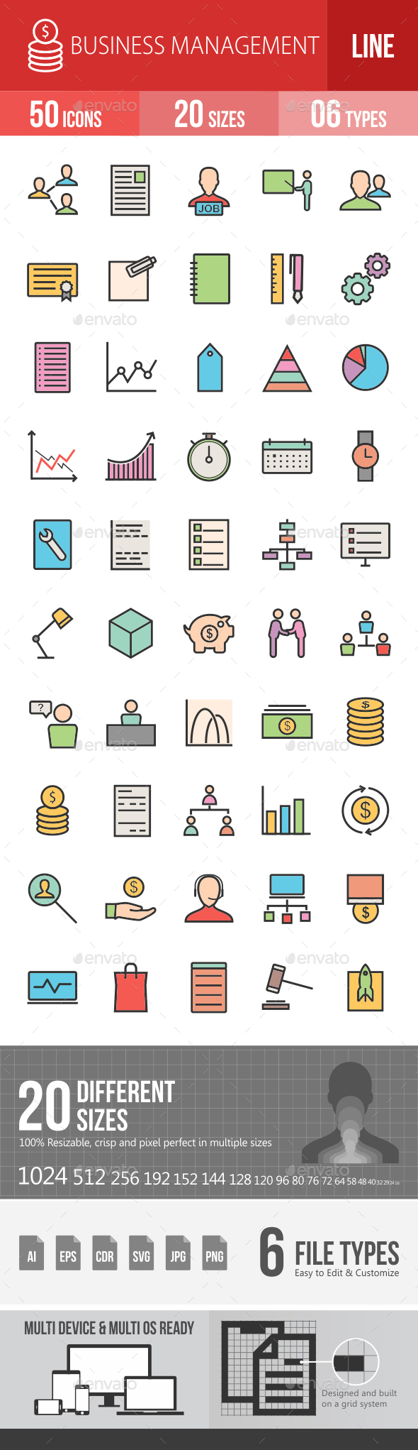 Business Management Filled Line Icons - Icons