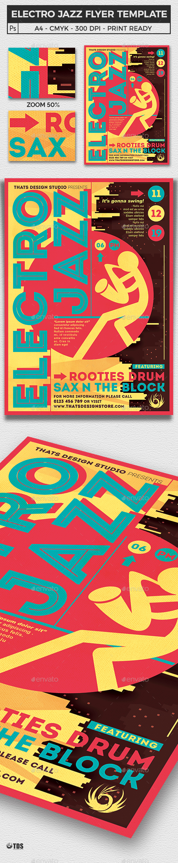 Electro Jazz Flyer Template - Concerts Events
