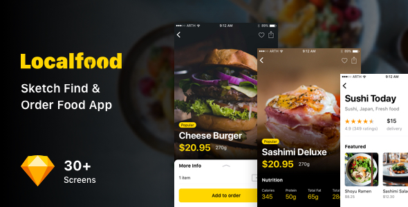 Localfood - Sketch Find & Order Food App - Sketch Templates