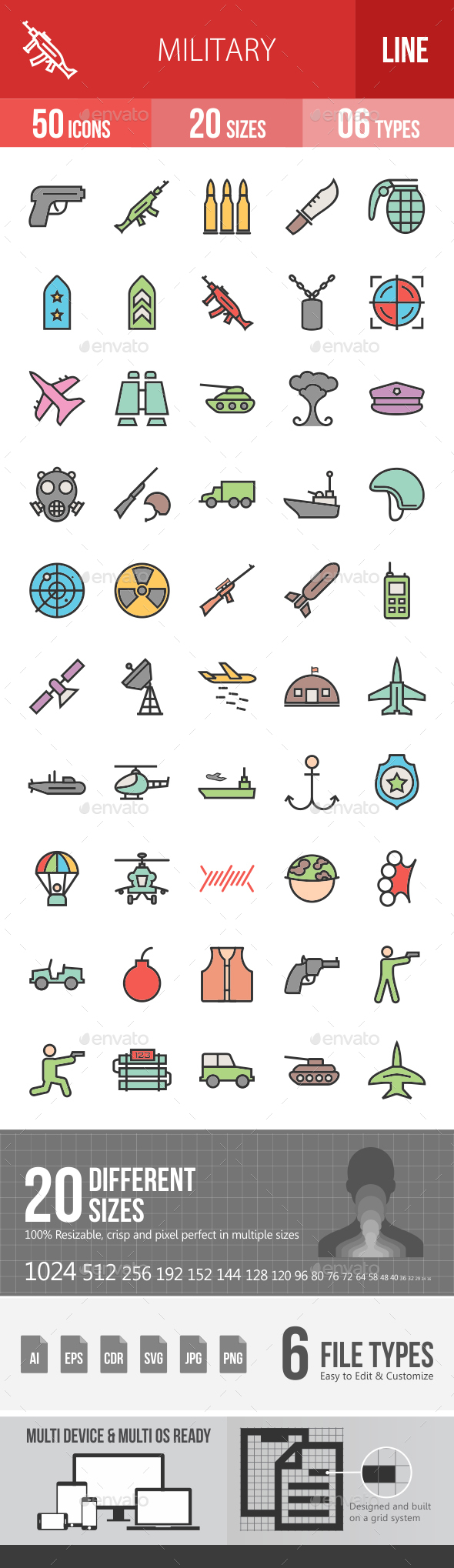 Military Filled Line Icons - Icons