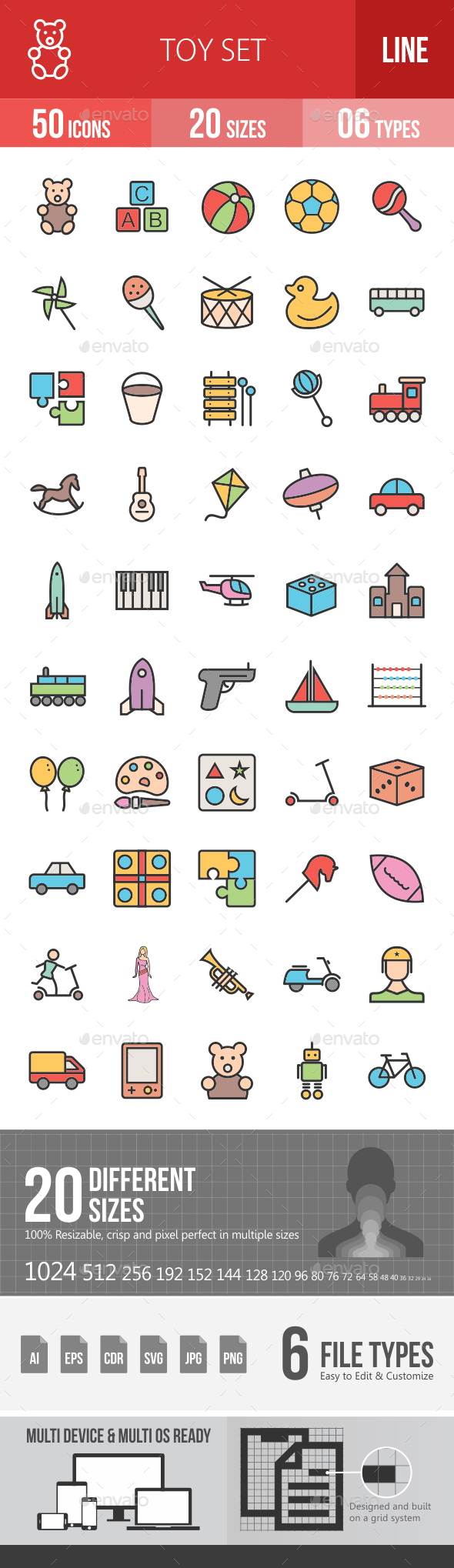 Toys Filled Line Icons - Icons