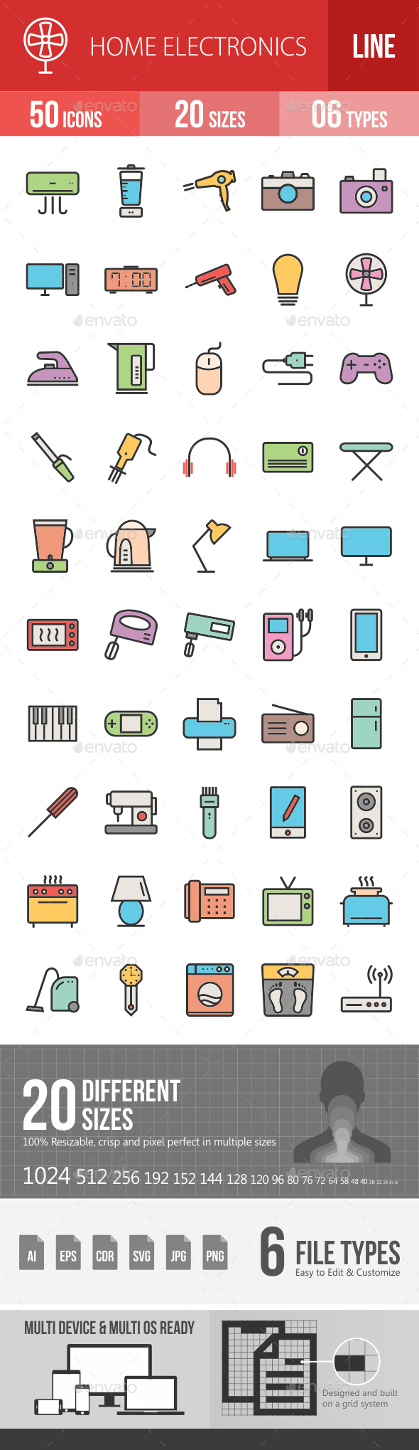 Home Electronics Filled Line Icons - Icons