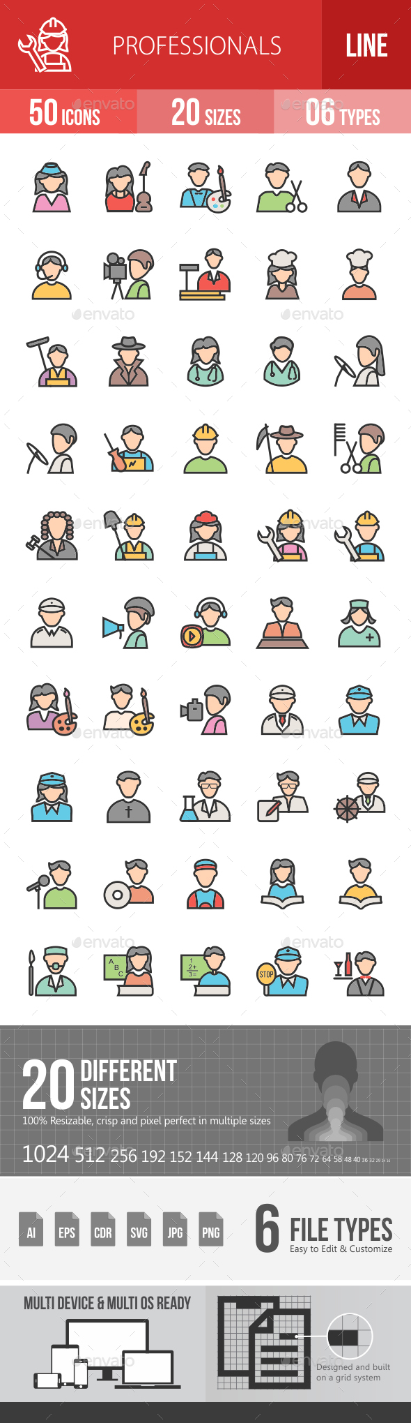 Professionals Filled Line Icons - Icons
