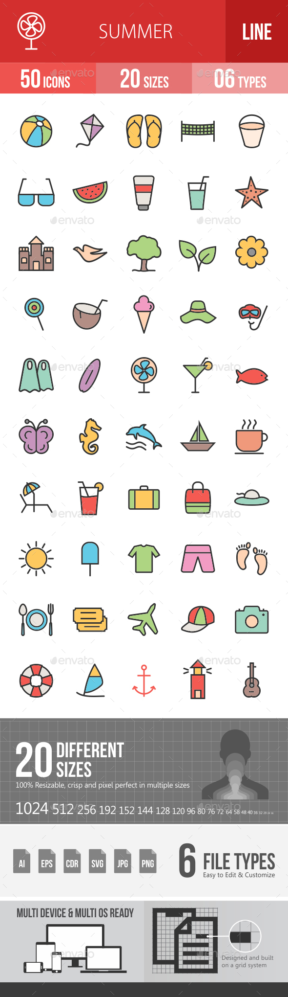 Summer Filled Line Icons - Icons