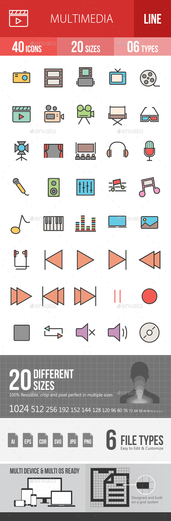 Multimedia Filled Line Icons - Icons