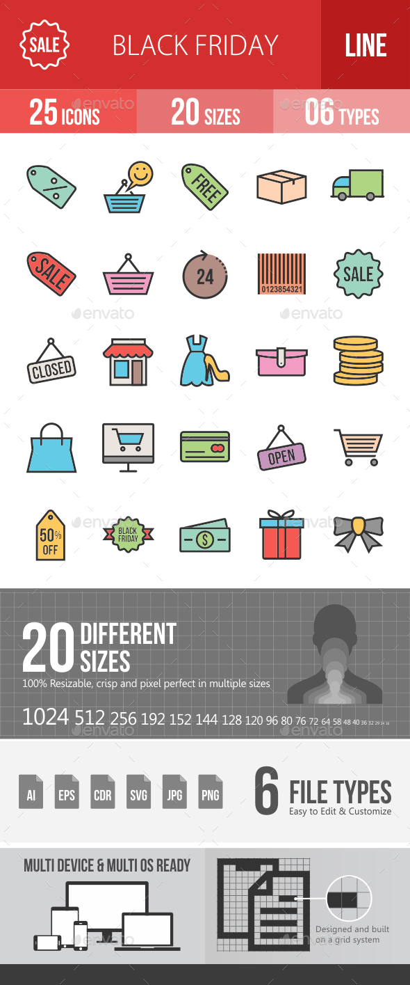 Black Friday Filled Line Icons - Icons