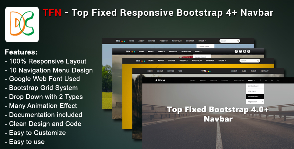 TFN - Top Fixed Bootstrap 4 Navbar - CodeCanyon Item for Sale
