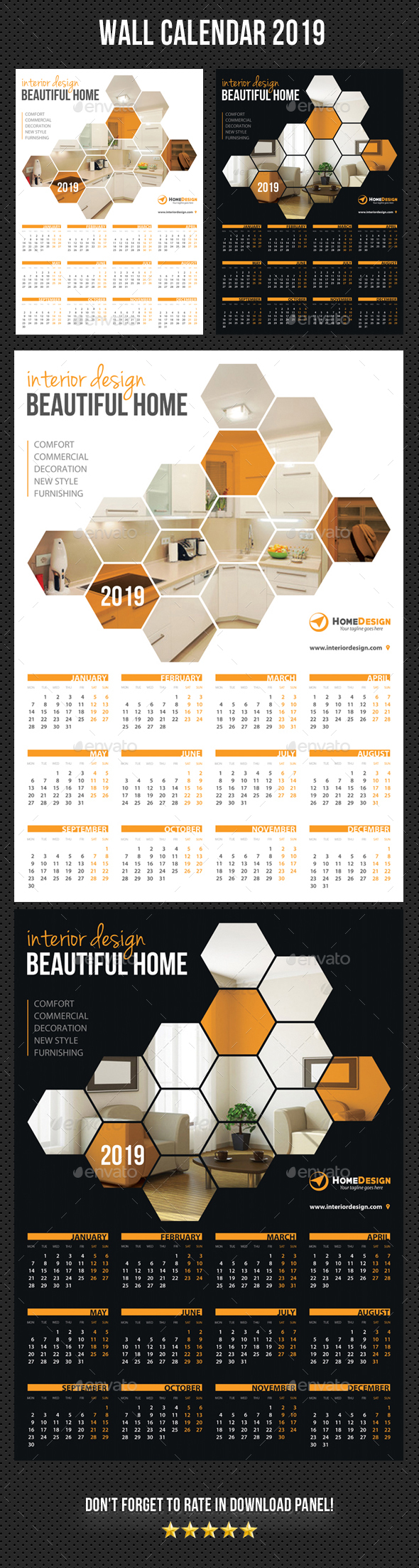 Wall Calendar 2019 V04 - Calendars Stationery