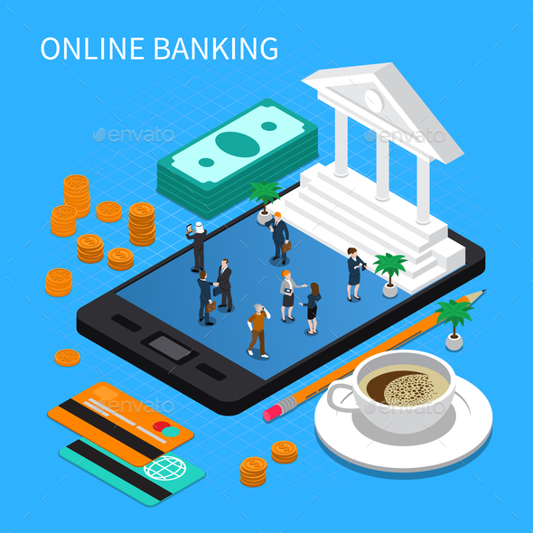 Online Banking Isometric Composition - Miscellaneous Vectors