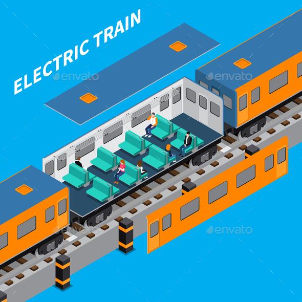 Electric Train Isometric Composition - Miscellaneous Vectors