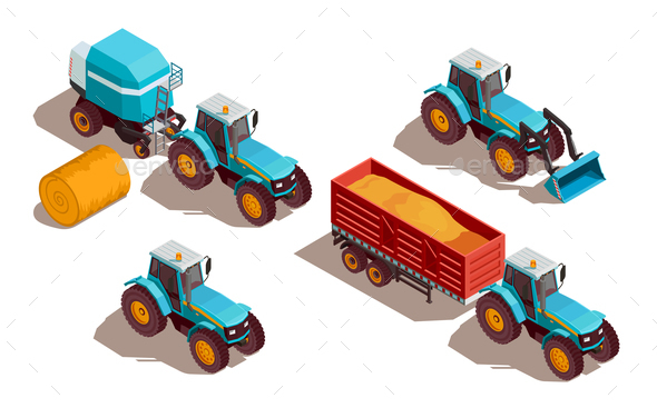 Agricultural Machines Isometric Composition - Industries Business