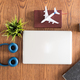 traveler businessman top view on wooden desk  concept image - PhotoDune Item for Sale