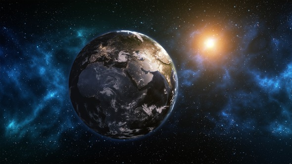 Planet Earth Rotation at Night with Space Background