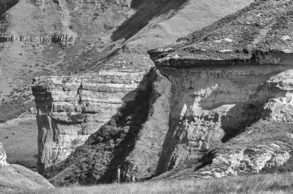 Monochrome view of Brandwag and Mushroom Rock at Golden Gate - Stock Photo - Images