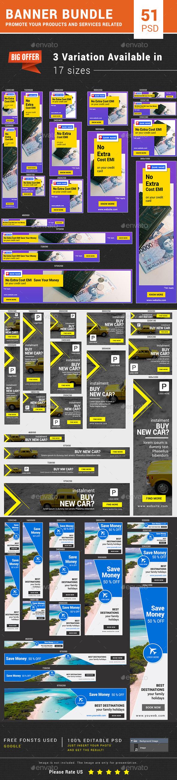 Banner Bundle (Travel, Bank, Car) - Banners & Ads Web Elements