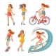 Vector Sketch Girls Summer Leisure Activity Set - GraphicRiver Item for Sale