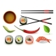 Sushi Japanese Seafood Set with Fresh Rolls and