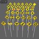 38 Road signs 3D Models game assets