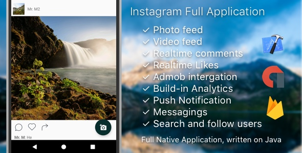 Instagram Mobile Android Template + Messages + AdMob + PushNotifications + Web (Photo/Video) - CodeCanyon Item for Sale