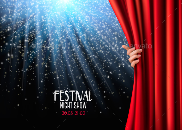 Background With Red Velvet Curtain and Hand - Backgrounds Decorative