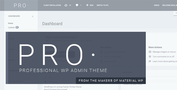 PRO Theme - Professional WP Admin Dashboard Theme - CodeCanyon Item for Sale