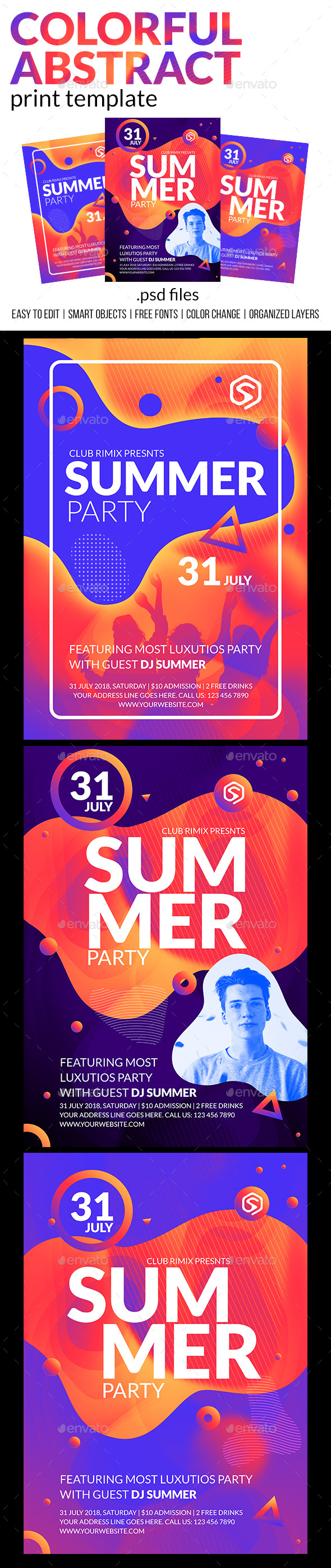 Colorful Abstract - Club Party Flyer - Clubs & Parties Events