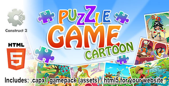 Puzzle Game Cartoon - Construct 2 Source Code and HTML5 Files for your Site - CodeCanyon Item for Sale