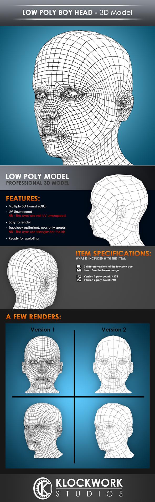 low poly boy head base mesh - 3DOcean Item for Sale