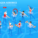 Aqua Aerobics Isometric Horizontal Illustration