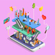 Consumers Online Shopping Isometric Composition