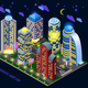 Night City Isometric Composition