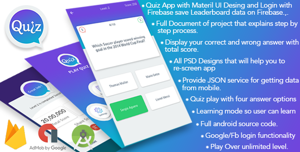 Play Quiz (Material Design) - CodeCanyon Item for Sale