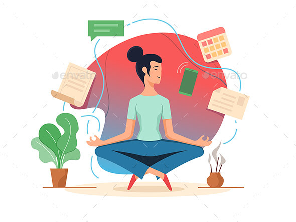 Woman Balancing in Lotus Position - People Characters