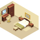 Isometric Hotel Room Interior Concept