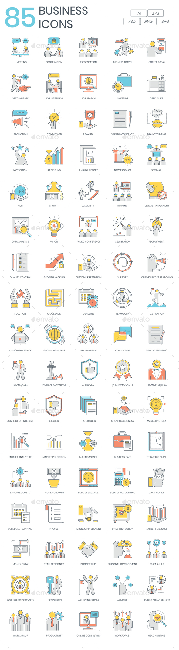 Business Icons - Color Line - Business Icons