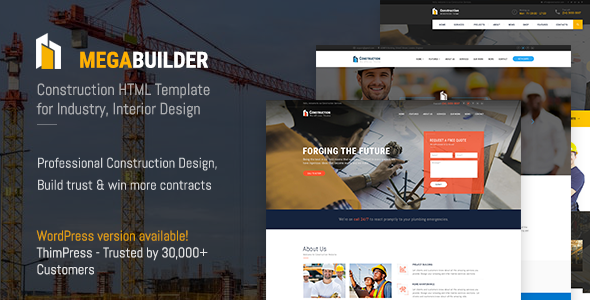Image of Construction HTML Template | MegaBuilder