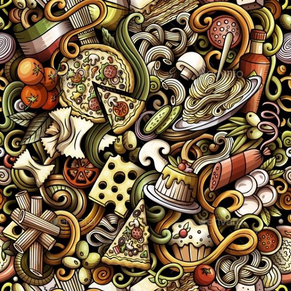 Cartoon Doodles Hand Drawn Italian Food - Food Objects