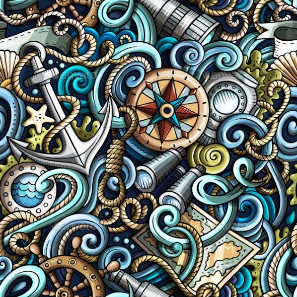 Cartoon Hand-Drawn Nautical Doodles Seamless - Miscellaneous Vectors